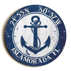 Custom Coordinates Round Anchor Sign - Navy