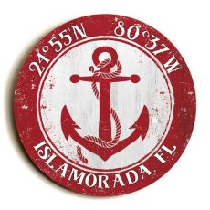 Custom Coordinates Round Anchor Sign - Red