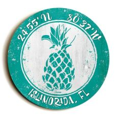 Custom Coordinates Round Pineapple Sign - Aqua