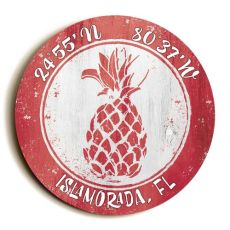 Custom Coordinates Round Pineapple Sign - Coral