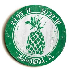 Custom Coordinates Round Pineapple Sign - Green