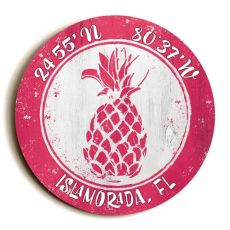 Custom Coordinates Round Pineapple Sign - Pink