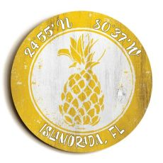 Custom Coordinates Round Pineapple Sign - Yellow
