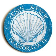 Custom Coordinates Round Seashell Sign - Blue