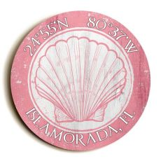 Custom Coordinates Round Seashell Sign - Light Pink