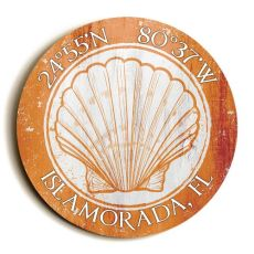 Custom Coordinates Round Seashell Sign - Orange