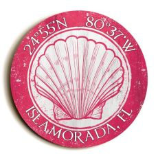 Custom Coordinates Round Seashell Sign - Pink