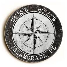 Custom Coordinates Round Sign - White W/Black Vintage Chart Frame