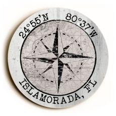 Custom Coordinates Round Sign - White Vintage Chart