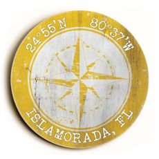 Custom Coordinates Round Sign - Yellow