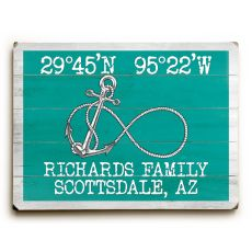 "Custom Coordinates Infinity Anchor Sign - Aqua - 30""X40"""