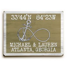 "Custom Coordinates Infinity Anchor Sign - Khaki - 14""X20"""