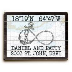 "Custom Coordinates Infinity Anchor Sign - Nautical Chart - 25""X34"""