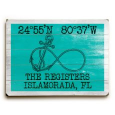 "Custom Coordinates Infinity Anchor Sign - Sea Green - 14""X20"""