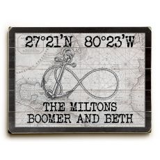 "Custom Coordinates Infinity Anchor Sign - White Vintage Chart - 14""X20"""