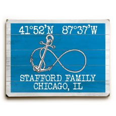 "Custom Coordinates Infinity Anchor Sign - Blue - 25""X34"""