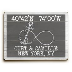 "Custom Coordinates Infinity Anchor Sign - Gray - 14""X20"""