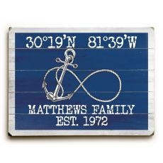 "Custom Coordinates Infinity Anchor Sign - Navy - 25""X34"""