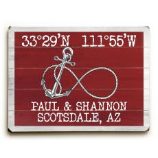 "Custom Coordinates Infinity Anchor Sign - Red - 14""X20"""