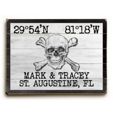 "Custom Coordinates Skull & Crossbones Sign - White - 14""X20"""