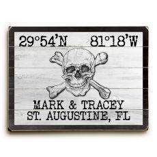 "Custom Coordinates Skull & Crossbones Sign - White - 25""X34"""