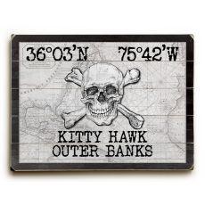 "Custom Coordinates Skull & Crossbones Sign - White Vintage Chart - 14""X20"""