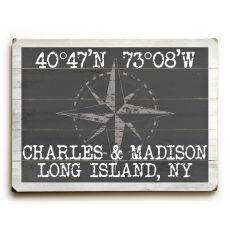 "Custom Coordinates Classic Sign - Gray - 14""X20"""