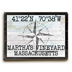 "Custom Coordinates Classic Sign - Nautical Chart - 25""X34"""