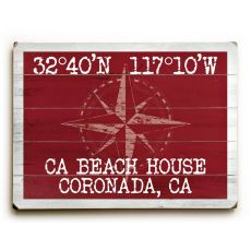 "Custom Coordinates Classic Sign - Red - 25""X34"""