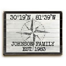 "Custom Coordinates Classic Sign - White - 14""X20"""