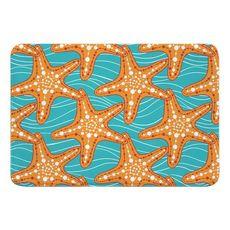 Starfish in Waves Memory Foam Bath Mat