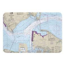 Hampton Roads, Newport News, VA Nautical Chart Memory Foam Bath Mat