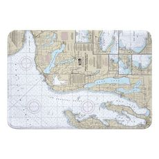 Grand Traverse Bay to Little Traverse Bay, MI Nautical Chart Memory Foam Bath Mat