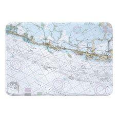Upper Matecumbe, Islamorada, Key Largo, FL Nautical Chart Memory Foam Bath Mat