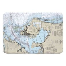 Tampa Bay and St Joseph Sound, FL Nautical Chart Memory Foam Bath Mat