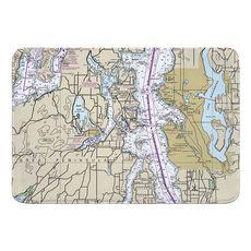 Seattle, WA Nautical Chart Memory Foam Bath Mat