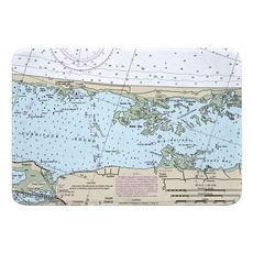 Currituck Beach, Corolla, NC Nautical Chart Memory Foam Bath Mat
