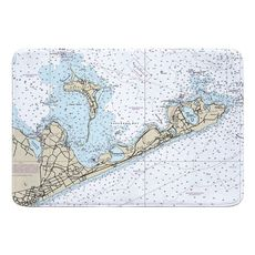 Gardiners Island, Montauk, NY Nautical Chart Memory Foam Bath Mat