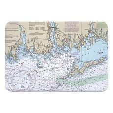Niantic, New London, Mystic, CT; Fishers Island, NY Nautical Chart Memory Foam Bath Mat