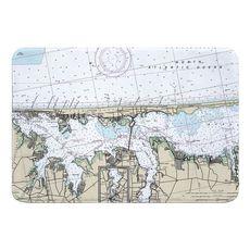 Island Beach, Lavallette, Toms River, NJ Nautical Chart Memory Foam Bath Mat