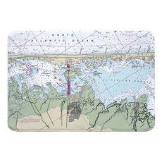 Surf City, Cedar Bonnet Islands, NJ Nautical Chart Memory Foam Bath Mat