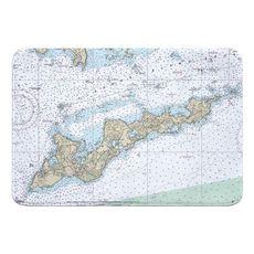 Fishers Island, NY Nautical Chart Memory Foam Bath Mat