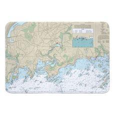 Branford, CT Nautical Chart Memory Foam Bath Mat