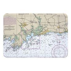 Guilford, Madison, CT Nautical Chart Memory Foam Bath Mat