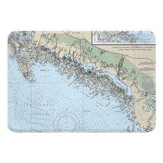Ten Thousand Islands, FL Nautical Chart Memory Foam Bath Mat