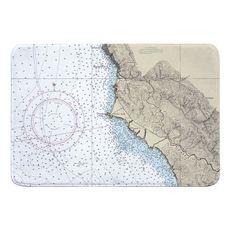 Point Sur, CA Nautical Chart Memory Foam Bath Mat