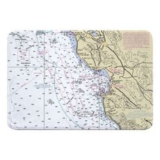 Santa Cruz, Monterey, CA Nautical Chart Memory Foam Bath Mat