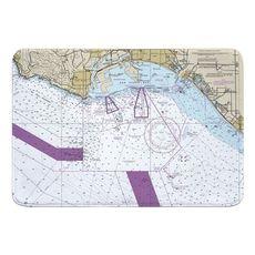 San Pedro, Long Beach, Seal Beach, CA Nautical Chart Memory Foam Bath Mat