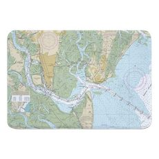 St. Simons Sound, Brunswick Harbor and Turtle River, GA Nautical Chart Memory Foam Bath Mat