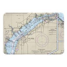 Fort Myers, FL Nautical Chart Memory Foam Bath Mat
